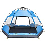 Ylovetoys Camping Tent Double Layer Family Camping Tents, Instant Pop Up Double-Uses Beach Tent 4 Person Sun Shelter Backpacking Tent for Camping Hiking Picnic Beach Fishing