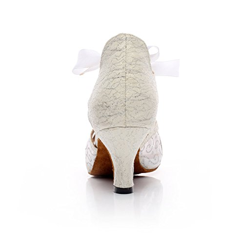 JSHOE Womens Lace-Up Net Moderne Salsa Tango Ballroom Latine De Soirée De Mariage Chaussures De Danse,White-heeled7.5cm-UK7.5/EU42/Our43