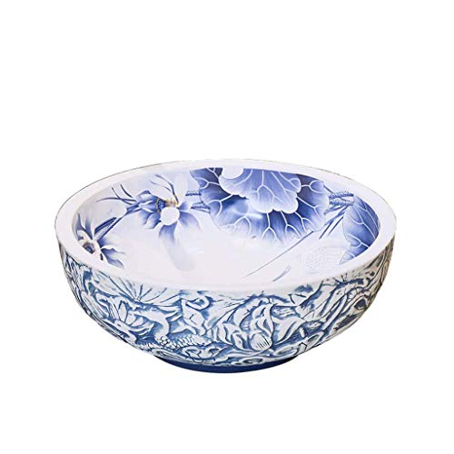 GLXYFC Bathroom Ceramic Wash Basin, Countertop Mounted Wash Basin - Round Art Basin Sink - 41x15cm