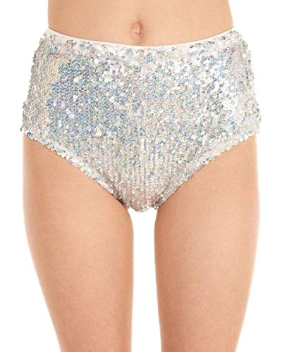 iHeartRaves Silver True Radiance Sequin High Waisted Shorts - High Waisted Sequin