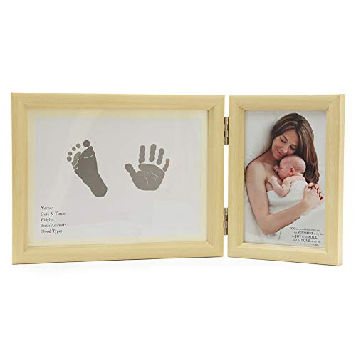 (Nbibsaacy Baby Handprint Footprint Photo Frame Baptism Commemorative Gift to Keep a Good time Safe Material Does not harm The)