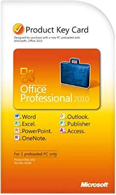 Microsoft Office Professional 2010 Product Key Card - 1PC/1User [Download]