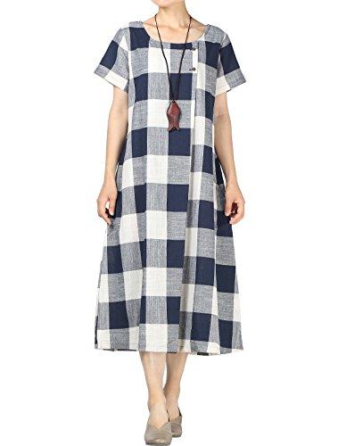 Mordenmiss Women's New Classic Plaid Linen Summer Shirt Dress with Pockets (2XL Navy)