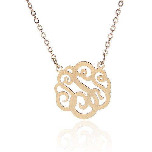 "HUAN XUN 14k Gold Alphabet S Initial Monogrammed Necklace Girls Jewelry 16"""