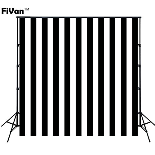 FUS 5X5ft Birthday Party Wall Decoration Black and White Stripes Wallpaper Wedding Birthday Desktop Props XT-3595 ()