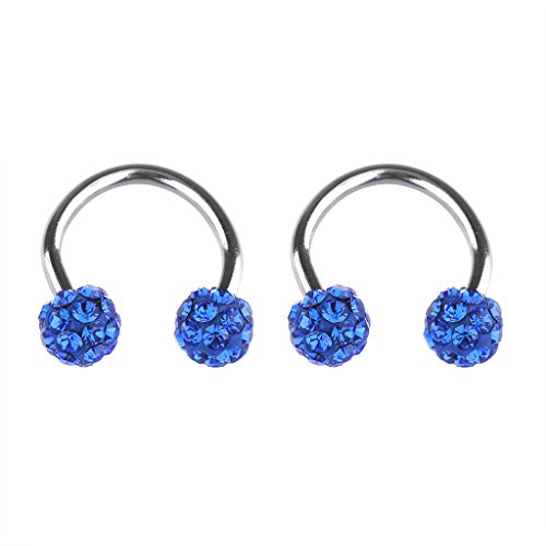 IPINK 2 Pieces Gems Horseshoe Barbell (Nipple, Ear) 20 Gauge 1/2