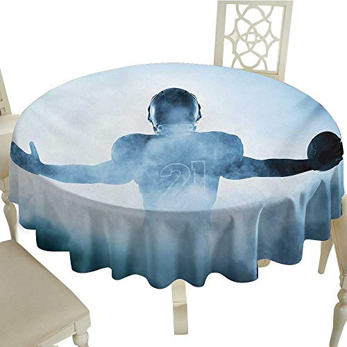 Round Tablecloth Vinyl Sport,Heroic Shaped Rugby Player Silhouette Shadow Standing in Fog Playground Global Sports Photo,Blue D70,for Accent Table