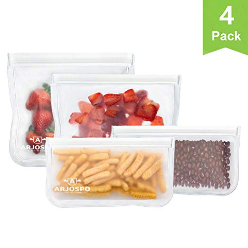 Reusable Food Storage Bags / 4 Pack Leakproof Reusable Sandwich Bags/Snack Bags/Lunch Bags/BPA Free Zip-lock Bags for Food Storage, Cosmetic, Travel, Home Organization, Washable and Reusable