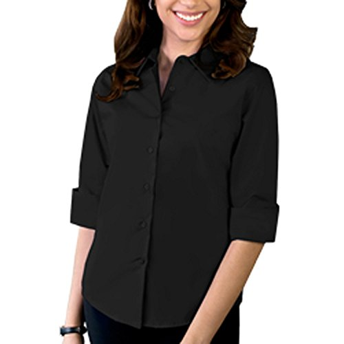 Blue Generation BG6218 - Ladies' Easy Care Stretch Poplin Blouse (2XL, Black)