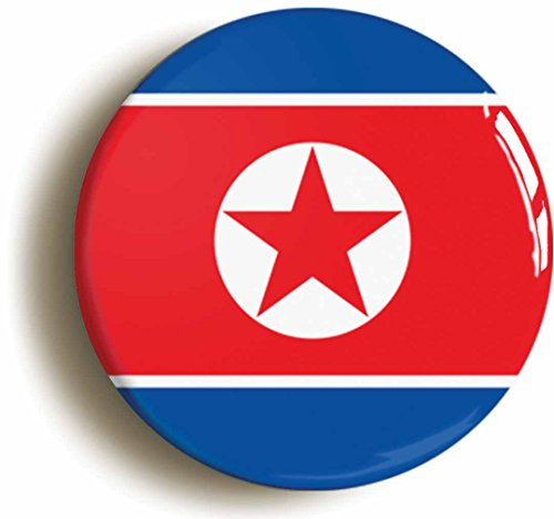North Korea Communist Flag Button Pin (Size Is 1inch Diameter)