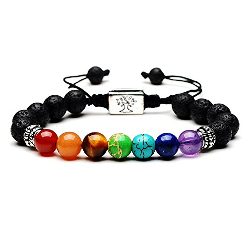 Black Lava Beaded Bracelet 7 Chakras Gem Stone with Braided Rope Unisex 8mm - Chakra Gem