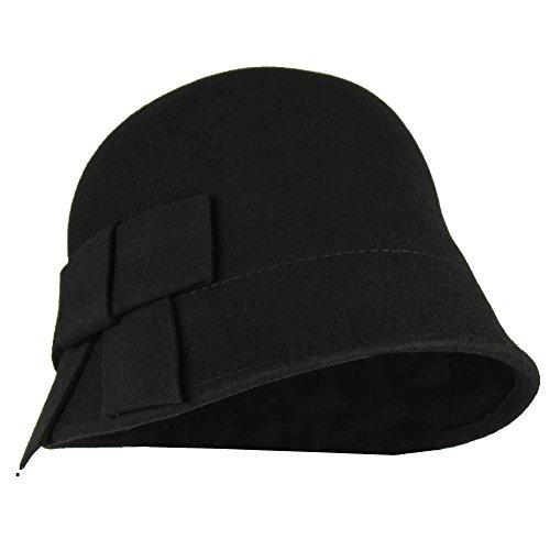 Black Satin Cloche Hat (Black 100% Wool Vintage Winter Cloche Hat w/ Adjustable Inner Drawstring)