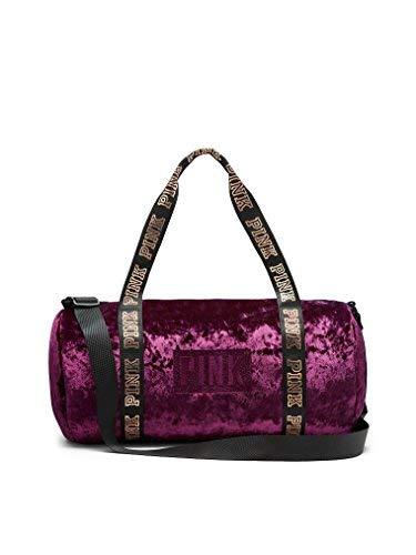105b4dade6907 Victoria's Secret PINK NEW! VARSITY VELVET MINI DUFFLE, Black Orchid