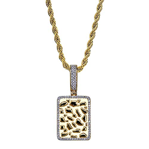(Y-XINOD Hip Hop Necklace, Rectangular Nugget Pendant Inlay Cubic Zirconia Influx Men's Accessories Jewelry Birthday for Boyfriend Brothers,Gold )