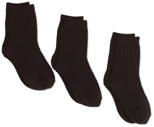 (Jefferies Socks Big Boys' 9-1 Rib Crew  (Pack of 3), Chocolate, Small)