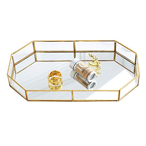 (18.75'' Large Decorative Tray ,Vintage Glass Jewelry Tray with Mirrored Bottom Vanity Organizer for Accent Table,Gold Leaf Finish)