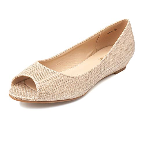 DREAM PAIRS Women's Dories Gold Glitter Low Wedge Peep Toe Flats Shoes Size 5 M US