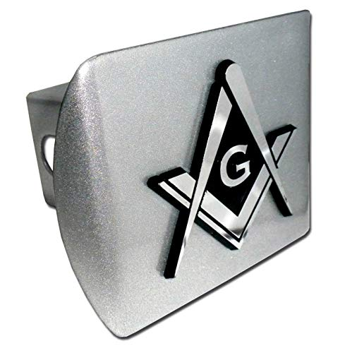 (Elektroplate Masonic Square and Compasses Brushed All Metal Hitch Cover)