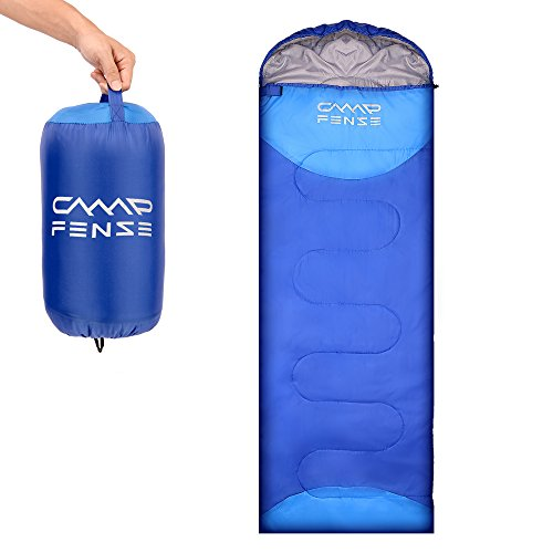 CampFENSE Sleeping Bag Lightweight Portable Compact Backpacking Outdoor Hiking Camping Equipment Tools Gear for Kids Youth Adult Men Women with Compression Storage Bag (Blue)