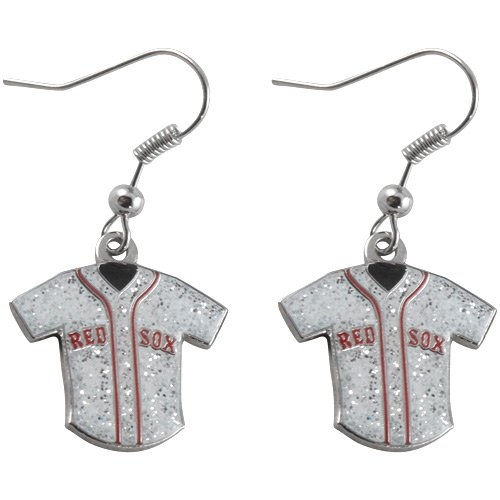 MLB Boston Red Sox Team Logo Glitter Jersey Earring Sports Fan Gift