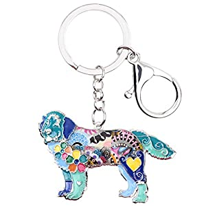 WEVENI Enamel Alloy Newfoundland Dog Key Chain Ring New Fashion Animal Jewelry for Women Handbag Charm Gift 1