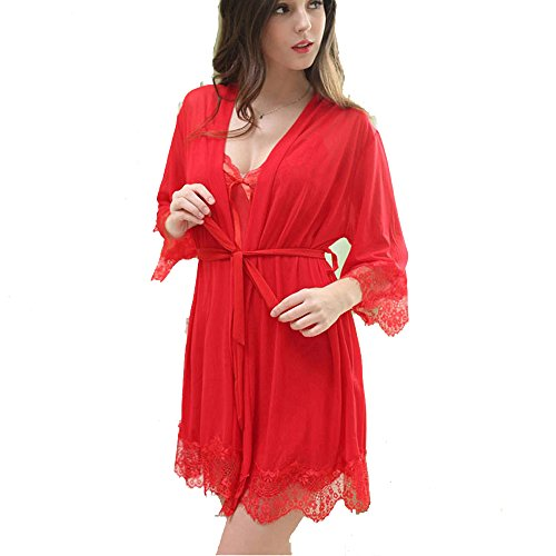 RedSwan Woman Lingerie Sleepwear Chemise Nightgown Sexy Lace Lounge Dress Sexy Lingerie (Red,XL) ¡