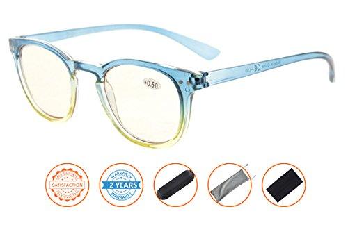 Blue Light Blocking,Reduce Eyestrain,Computer Gaming Reading Glasses Women(Blue-Yellow Frame,Amber Tinted Lenses) - Reading Tinted Yellow Glasses