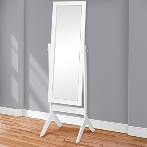 Best Choice Products Standing Cheval Floor Mirror Bedroom Home Furniture (White Cheval Mirror)