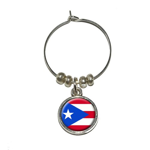 Puerto Rico Wedding - Puerto Rico Puerto Rican Flag Wine Glass Charm Drink Marker