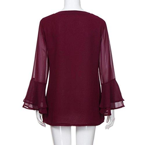 Manica Lunga Tank Tops Top Sciolto Rosso Camicie Chiffon Camicetta Ladies Casual YUMM Donna 8Hxqzwpp