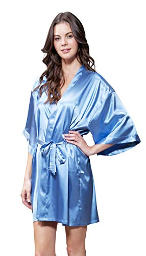 Blue Silk Linen - Turquaz Linen Satin Kimono Bridesmaids Robe (Small/Medium, Airy Blue)