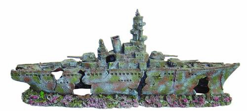 XL WW2 Battleship Aquarium Ornament 2 Part, Jumbo Sized Fish Tank Decoration by Aquarium H2o