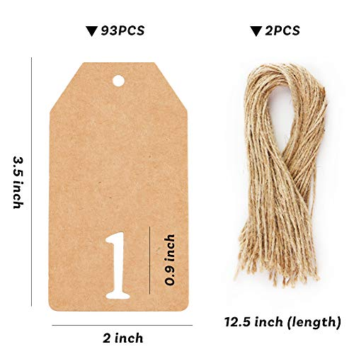93 PCS Kraft Paper Tags Hanging Number Tags with String for Digital Countdown Ornaments Birthday Wedding Anniversary and Party Decoration