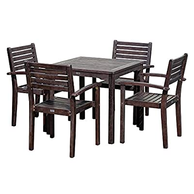 DTY Outdoor Living Leadville Square 5-Piece Eucalyptus Dining Set, Espresso Finish - FOREST STEWARDSHIP COUNCIL CERTIFIED: Go Green! Our FSC Eucalyptus is sustainable, eco-friendly wood and a renewable resource from well managed forests that are Forest Stewardship Council certified BUILT TO LAST: Created from 100% eucalyptus this dining set is naturally weather resistant and will stand up to the elements, perfect for any climate. Its high oil content repels bugs and helps protect it from moisture, UV rays, decay and rot. STYLISH DESIGN: Casual yet stylish this beautiful 5-piece square dining set is sure to make your summer gatherings a success. The set features a table and 4 stacking arm chairs for easy storage. - patio-furniture, dining-sets-patio-funiture, patio - 41VpgqT7P5L. SS400  -