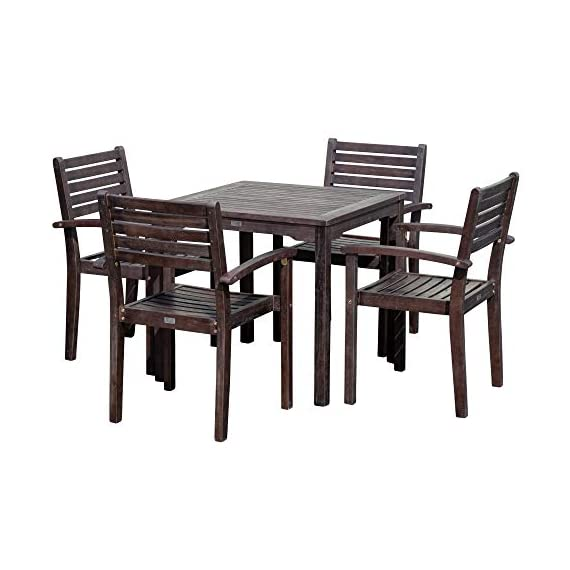 DTY Outdoor Living Leadville Square 5-Piece Eucalyptus Dining Set, Espresso Finish - FOREST STEWARDSHIP COUNCIL CERTIFIED: Go Green! Our FSC Eucalyptus is sustainable, eco-friendly wood and a renewable resource from well managed forests that are Forest Stewardship Council certified BUILT TO LAST: Created from 100% eucalyptus this dining set is naturally weather resistant and will stand up to the elements, perfect for any climate. Its high oil content repels bugs and helps protect it from moisture, UV rays, decay and rot. STYLISH DESIGN: Casual yet stylish this beautiful 5-piece square dining set is sure to make your summer gatherings a success. The set features a table and 4 stacking arm chairs for easy storage. - patio-furniture, dining-sets-patio-funiture, patio - 41VpgqT7P5L. SS570  -