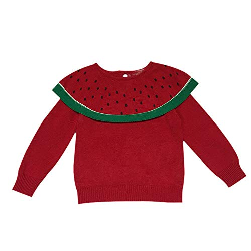 Baby Girl Top Sweater,Fineser Clearance Sale!!Cute Toddler Kids Baby Girls Long Sleeve Watermelon Knitted Tops Sweater Blouse (red, 3Year(110))