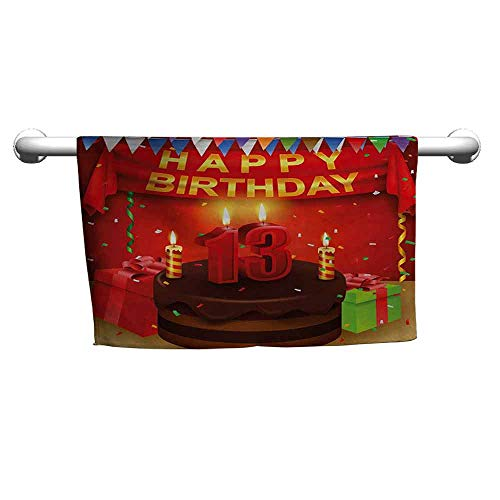 duommhome 13th Birthday Beach Activity Bath Towel Creamy Chocolate Cake with Candlesticks Presents and Ribbons Festive Theme W27 x L55 Multicolor