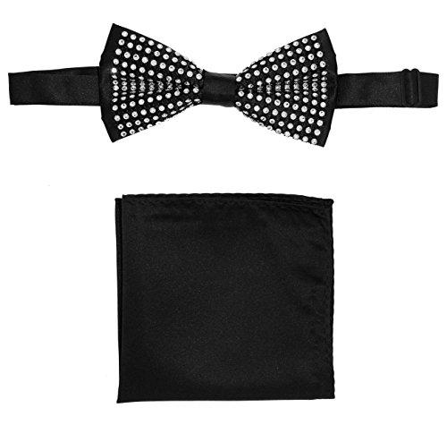 Mens Black Clear Crystal Rhinestone Bow Tie & Hanky Set