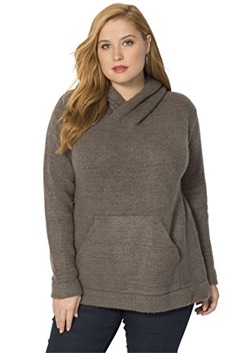 Women's Plus Size Soft Chunky Hoodie – Large, Medium Heather Grey