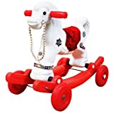 Mother Glory 2-in-1 Plastic Horse Rider/Rocker for Kids (White and Red)
