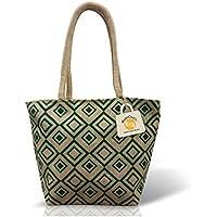 HandCraft Reusable Jute Lunch Bag | Shoulder Bag with Zip 35 W X 27 H X 12 B cm