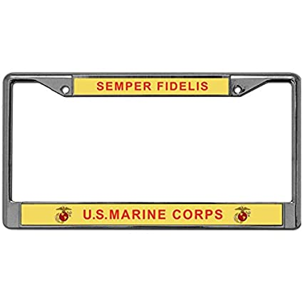Amazon.com: GND License Plate Frame SEMPER FIDELIS U.S.MARINE CORPS ...