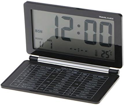 Fityle - Reloj digital con pantalla LCD y calendario, con alarma, plegable, color negro