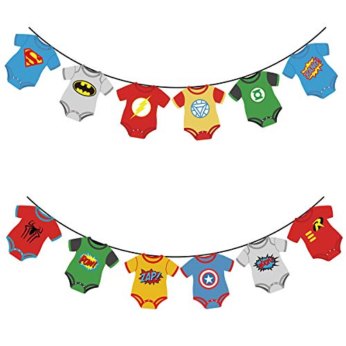 KUDES Superhero and Avengers Banners Party Supplies for Baby Shower, Children Kids First Birthday Party, Nursery Decorations and DC Justice League -