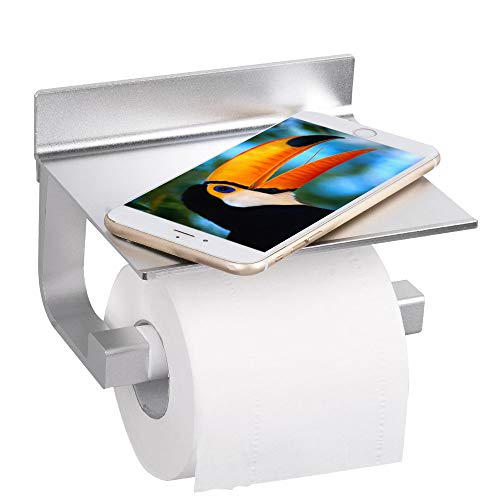 HOOMTAOOK Bathroom Toilet Paper Tissue Roll Holder Rustproof Wall Mount No Drill Adhesive Aluminum with Mobile Phone Storage Shelf (Cashmere Bathroom Tissue)