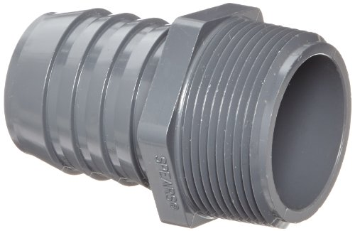 "Spears 1436 Series PVC Tube Fitting, Adapter, Schedule 40, Gray, 1-1/2"" Barbed x NPT Male"