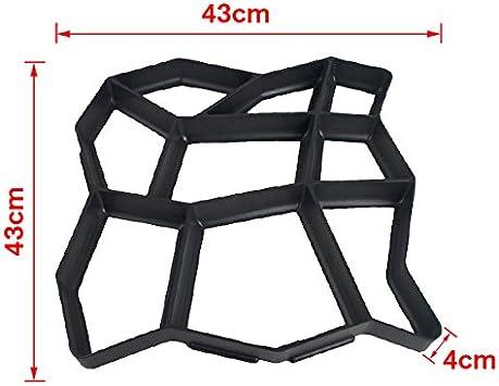 43 x 43 x 4cm Schwarz Gie/ßformen 5x Betonpflaster Form Kopfsteinpflaster Au/ßenbereich Pflasterform