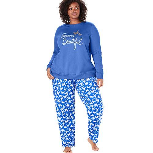 Dreams & Co. Women's Plus Size Fleece Sweatshirt & Pant Pajama Set - True Blue Butterfly, 22/24
