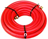 Water Hose Continental ContiTech 1/2'' x 75' RED RUBBER Industrial 200psi with Brass Fittings - Heavy Duty - USA