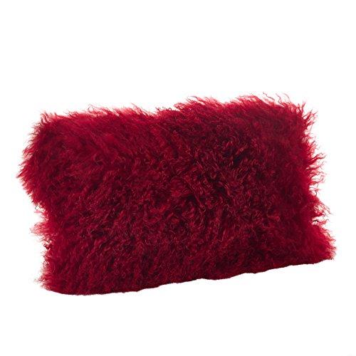 Saro LifeStyle 3564.R1220B  Mongolian Lamb Fur Down Filled Throw Pillow, Red, 12